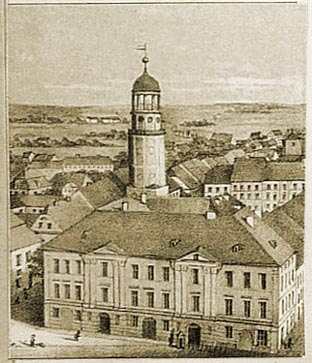Ratusz w ok. 1860 r. na litografii A. Groegera (zdjęcie ze strony www.olesnica.nienaltowski.net).